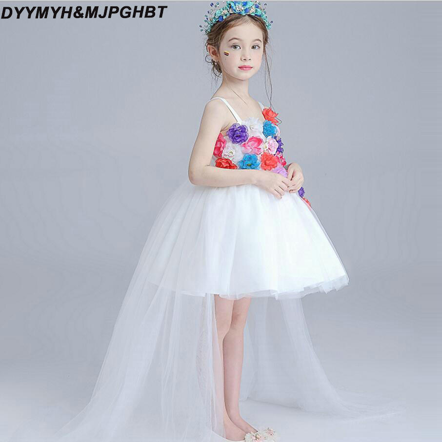 Colorful Flowers Kids Pageant Dresses Ball Gowns Skirt Knee Length