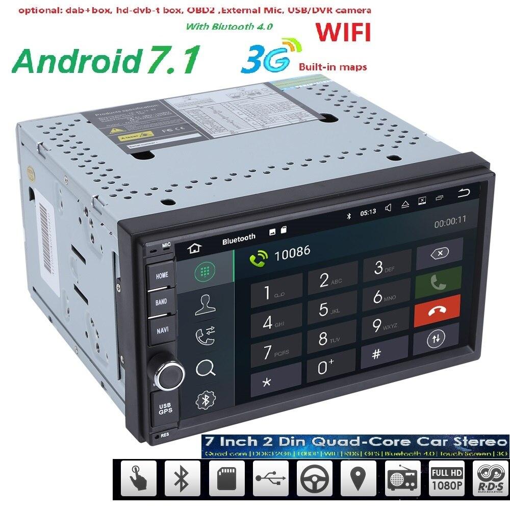 2 GB RAM Quad Core Electrónica Del Coche autoradio 2din android 7.1 reproductor
