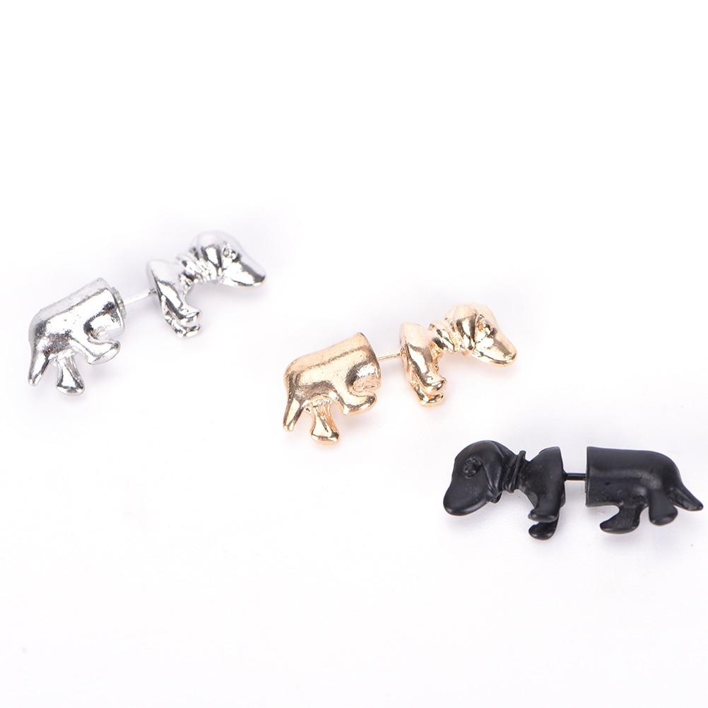 3D Stereoscopic Dachshund/Dog Stud Earrings Punk Rock Trendy Cool Impalement Men/Women Ear Stud Tunnel Party Earrings