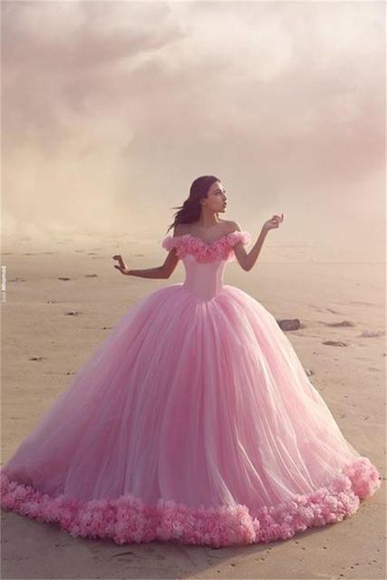 Prinzessin Stil Rosa Ballkleid Brautkleid Weiche Tulle Backless Fee ...