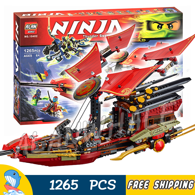 1265pcs Ninja Final Flight Of Destiny's Bounty Morro's Ghost Dragon 10402 Figure Building Blocks Toys Compatible With LegoING