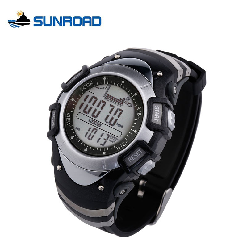 ФОТО SUNROAD Fishing Watches Weather Forecast Barometer Altimeter Thermometer Climbing Fishing Reminder Waterproof Watch Men FX704