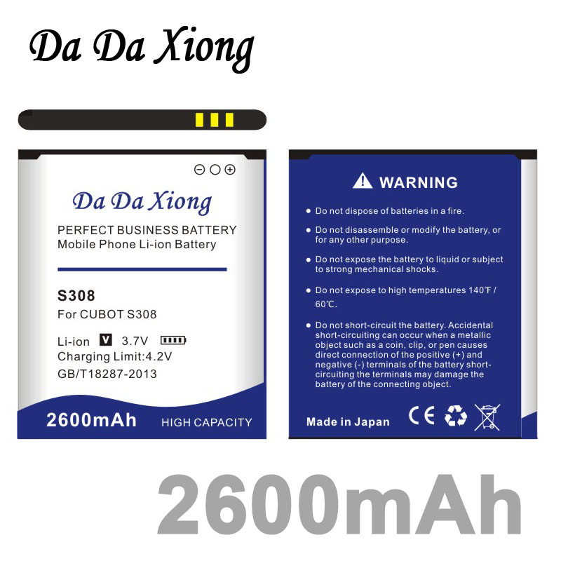 Da Da Xiong 2600mAh <font><b>CUBOT</b></font> <font><b>S308</b></font> <font><b>Battery</b></font> for <font><b>CUBOT</b></font> <font><b>S308</b></font> phone <font><b>battery</b></font> image
