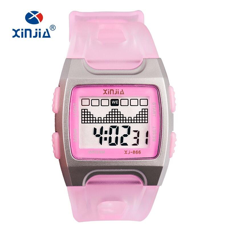 XINJIA Fashion Casual Jelly LED Digital Watch For Women Super 50M Waterproof  Cute Children Kid Swimming 37d62935a3b1