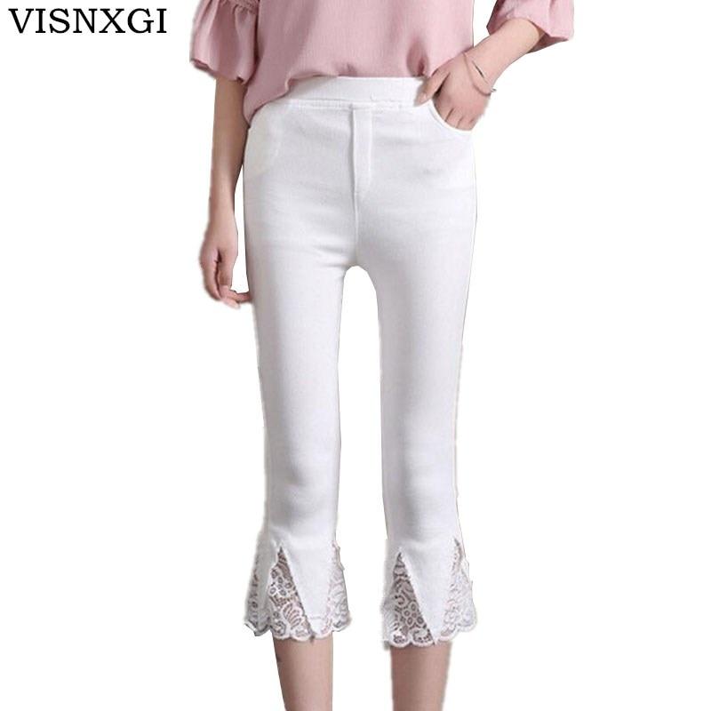 VISNXGI 2018 Summer   Pants   &   Capris   Women Lace Pockets Fashion Mid Waist Casual   Capris   Plus Size Ladies Pencil   Pants   Female S-3XL