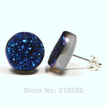 H-CE40 10mm Metallic Blue Druzy Stud Earrings Metallic Peacock Carnival Round Dot Titanium Drusy Quartz