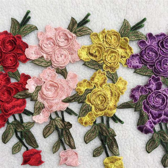 DoreenBeads 3D Rose Blume Muster Patch Bestickt Appliziert Nähen Auf ...