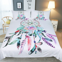 LISM feathers Dream catcher Bedding Set Twin Full Queen King Size Feathers Duvet Cover White Bed Set Beautiful Bedclothes 3pcs