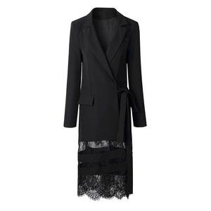 Image 5 - DEAT 2020 Good Morning! Black Lady Of Quality Ol Commute Temperament False Twinset Lace Long Fund Suit Dress WI126