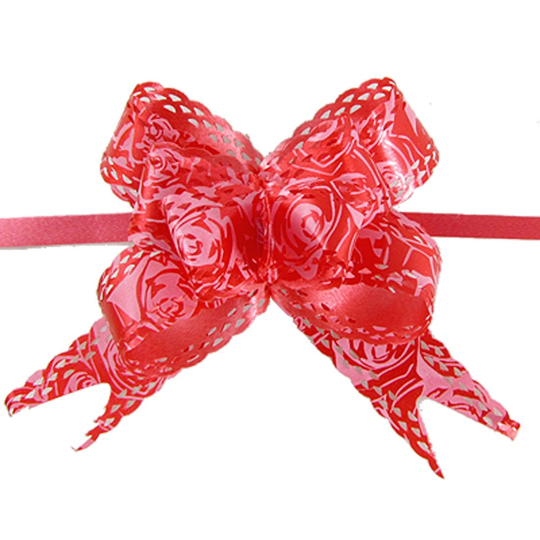 Practical Rose Print Christmas Decoration Gift Red Pull Bow Ribbon 10 Pcs
