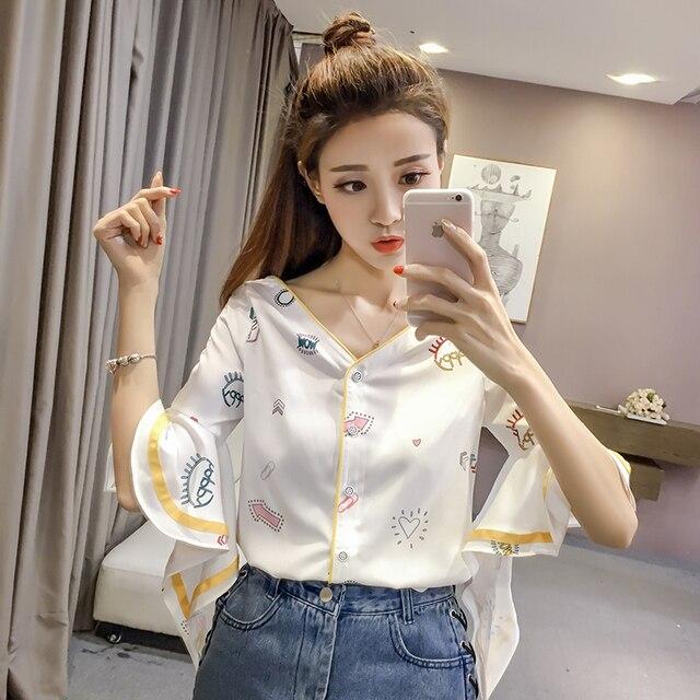 Missoov designer chemises d\u0027été japon style marque femmes mode blouses col  v tops blanc