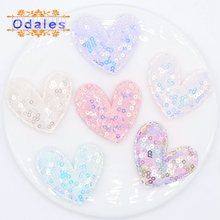 12Pcs NEW 50*42MM Sequin Cloth Appliques Heart Patches DIY Headware Clips Accessories Toy Patches Scrapbooking Sticker