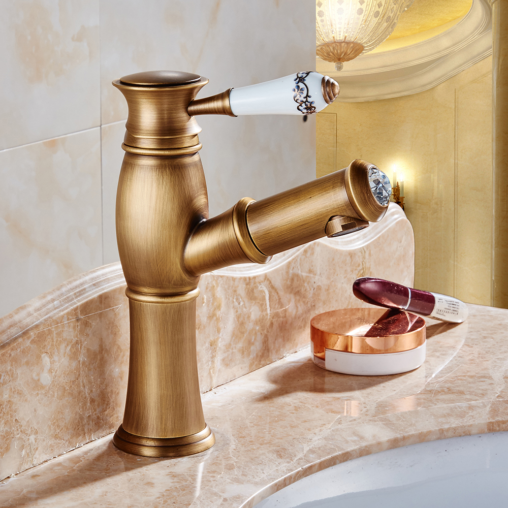New Pull Out Antique Kitchen Faucet Crystal+ Copper Sink Nickel Brushed Kitchen Mixer Mixers Faucets Bathroom Faucet Q992 new pull out black kitchen faucet crystal copper sink kitchen mixer classica mixers faucets bathroom faucet hp 6126r