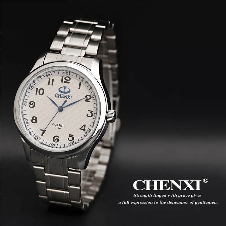CHENXI Brand Classic Luxury Quartz Ladies Watch Fashion Noble Gift Clock Women Man Wristwatch Stainless Steel Silver Watch 010A