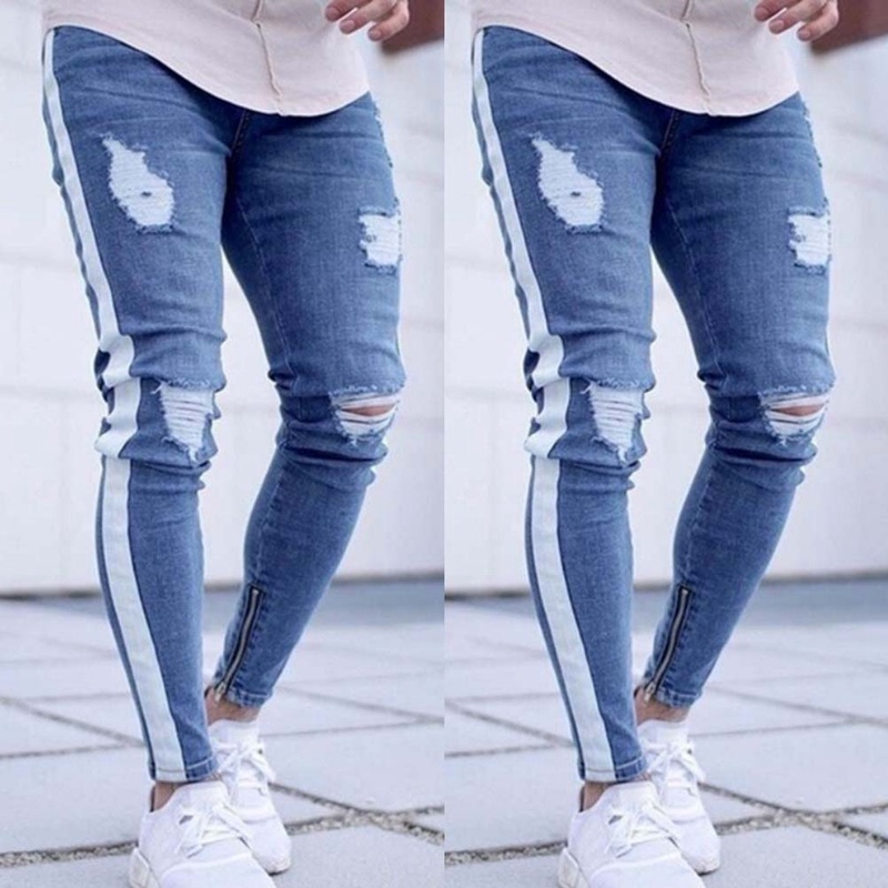 Knee Hole Side Zipper Slim Distressed Jeans Men Ripped tore up Jeans For Men stripe pants