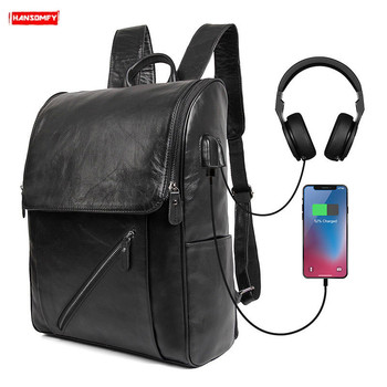New Men computer bag school student bags male USB charging soft black leather backpack outdoor fashion casual travel backpacks