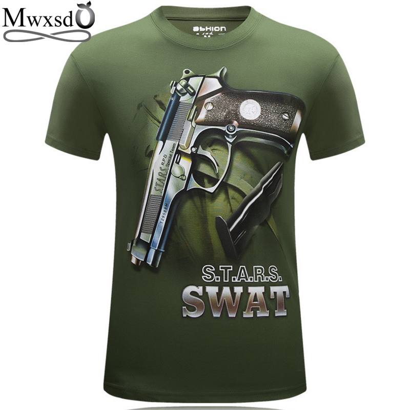 Mwxsd brand Mens gun arms 3d printed T Shirt men O neck summer T-shirts male social top tees t shirt high quality