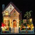 3D DIY Artesanato Em Madeira Em Miniatura Dollhouse Voice-activated LED Light & Música com Capa Casa de Boneca criança Brinquedos modelo kits