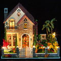 3D DIY Wooden Handcraft Miniature Dollhouse Voice-activated LED Light&Music with Cover Doll House child Toys model kits