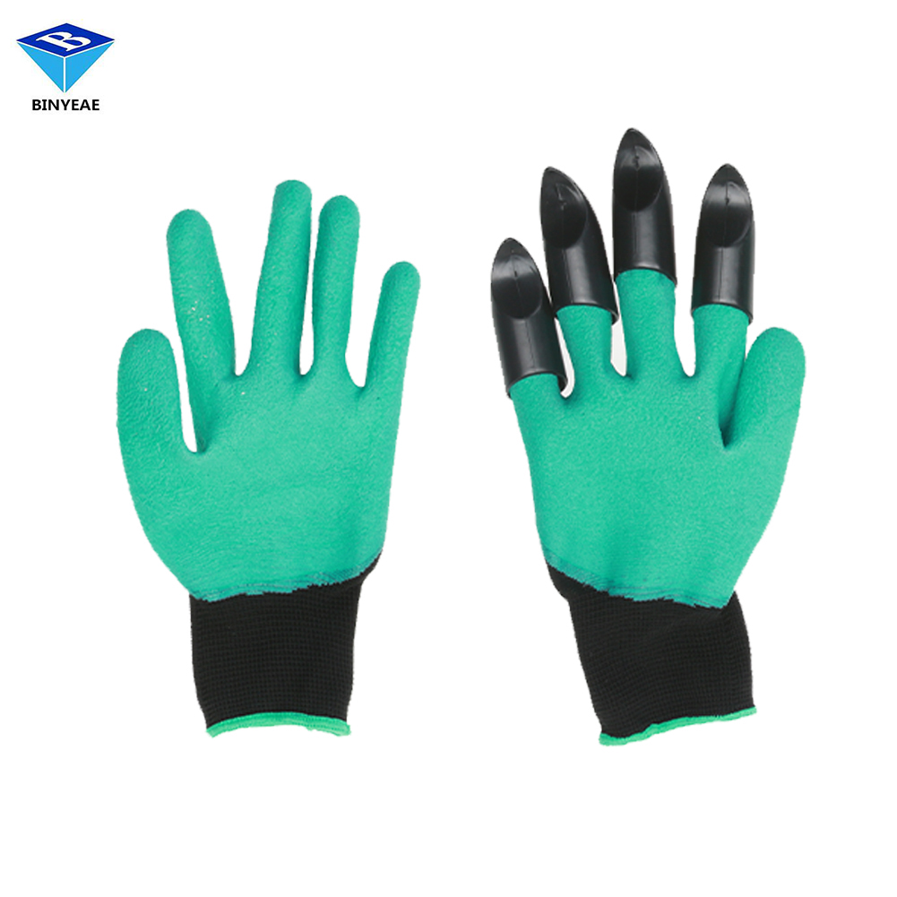 Genuine Binyeae 2017 Hot Sell Gardening glove Garden Gloves for Digging Planting with 4 ABS Plastic