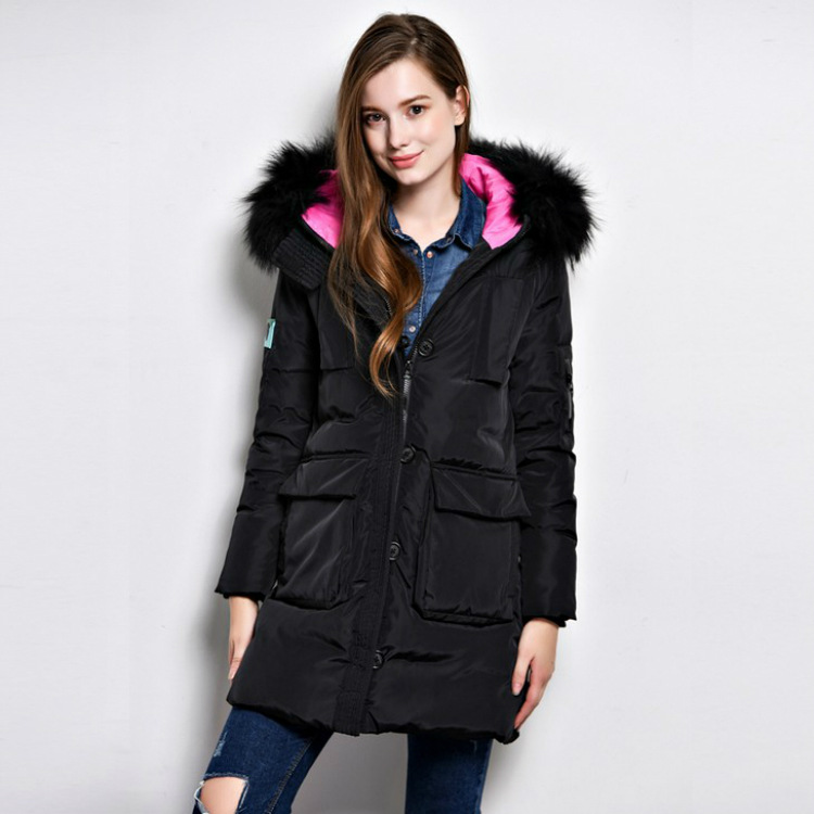 New Coats & Jackets Nice Hooded Winter Jacket Women Artificial Fur Collar Women's Down Jacket  Long Women's Coats 52111