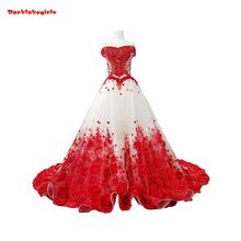 37749 Noble Sexy Princess Wedding Dress Red Train Ball Gown