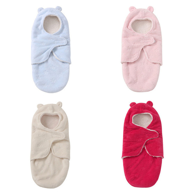 Saco de Dormir do bebê Rosa Envoltório Swaddle Quente Fofo Bebê Camadas Duplas Anti-chutar Confortavelmente Quente Saco Cobertor Para Bebês