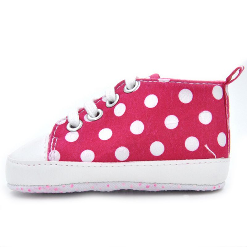 Fashion Child First Walkers Sports Dots Print Anti-Slip Prewalker Sneakerborn Shoes Size 11-14