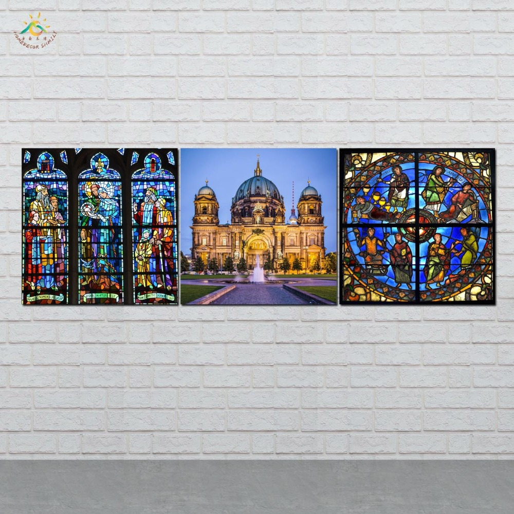 Christian Architecture Picture And Poster Canvas Painting Modern Wall Art Print Pop Art Wall Pictures For Living Room 3 PIECES in Painting Calligraphy from Home Garden