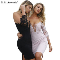 M H Artemis Sexy Lace Dress Patchwork Women Bodycon Dress Floral Embroidery Lace Up Party Dress
