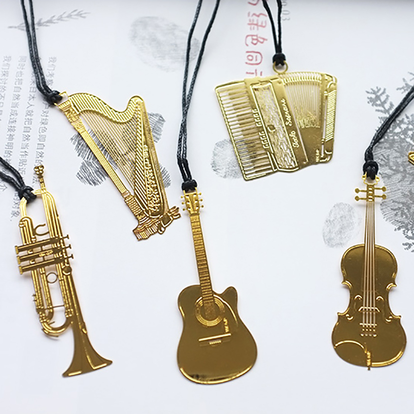 Musical Instrument Bookmark Students Stationery Creative Metal Bookmarks Chain School Supplies Book Decor Gifts For Reader,kids