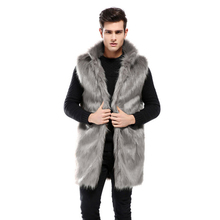 5686b19fbe1 2018 Autumn Winter Men Faux Fox Fur Vests Long Fur Sleeveless Jacket Male Stand  Collar Casual