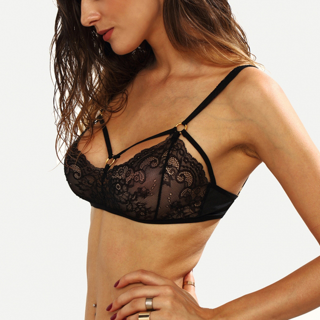 Missomo 2017 New Fashion Women Black Sexy Push Up Lace Adjustable Straps Trim Bralette Semi-sheer Underwear Soft Breathable Bra