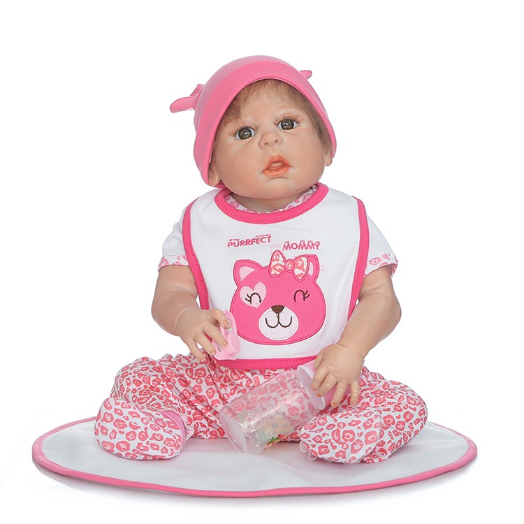 55 cm whole Silicone reborn doll 22inch Lifelike Toddler Baby Girl Doll brown eyes Reborn babies real vinyl dolls for kids toy55 cm whole Silicone reborn doll 22inch Lifelike Toddler Baby Girl Doll brown eyes Reborn babies real vinyl dolls for kids toy