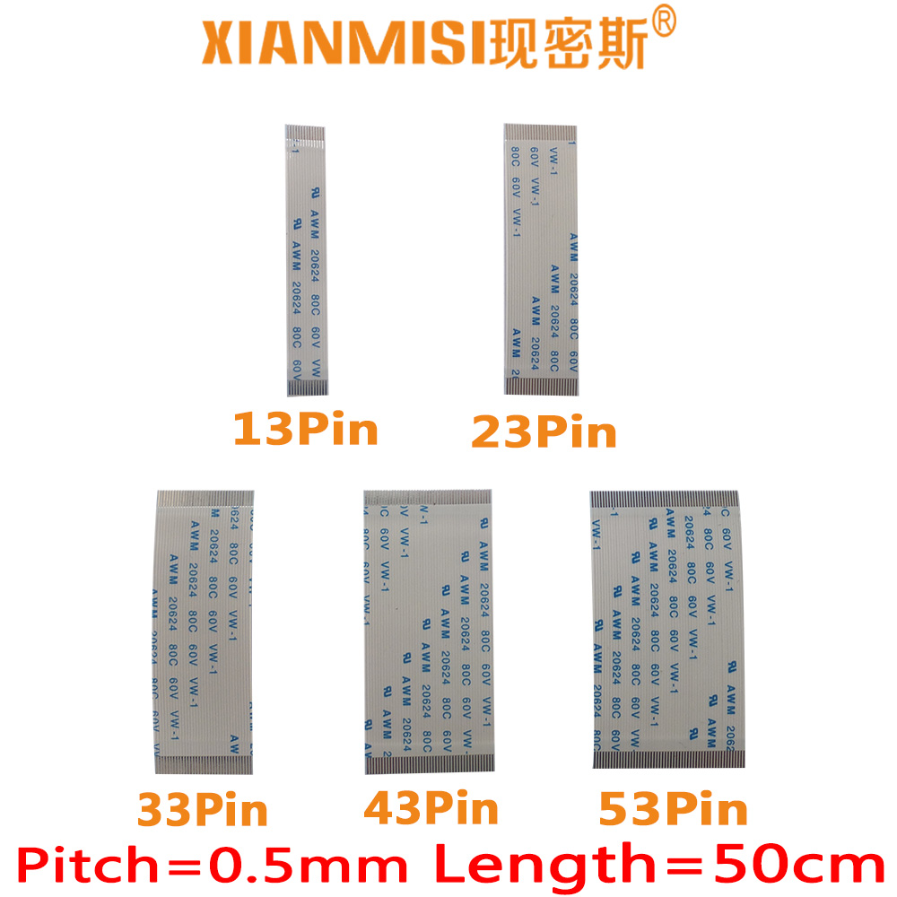 FFC/FPC planos Flex Cable 13Pin 23Pin 33Pin 43Pin 53Pin mismo lado 0,5mm AWM VW-1 20624 20798 80C 60V Longitud 50cm 5 uds
