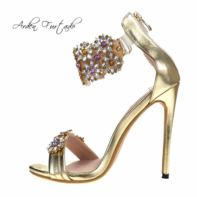 Arden Furtado 2018 summer shoes crystal flower extreme high heels 12cm sexy  party Stiletto rhinestone sandals be6b46928200