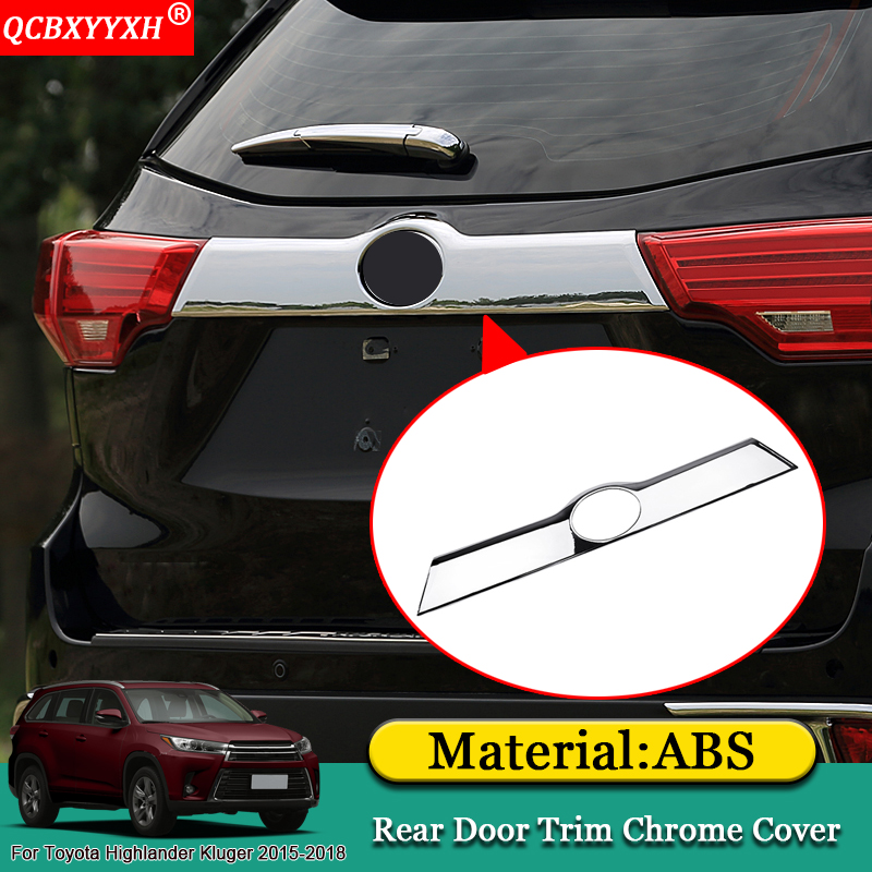 QCBXYYXH Car-styling ABS Car Rear Door Trim Chrome Cover Protection Sequins Accessories For Toyota Highlander Kluger 2015-2018