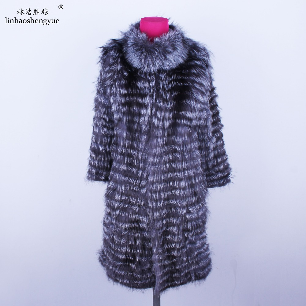 Linhaoshengyue  2018NEW HOT   Fox Fur Long Coat Wool  Knit Liner Withstylish Stand Collar