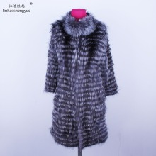 Liner Long-Coat Fox-Fur Wool NEW HOT Linhaoshengyue with Stylish-Stand-Collar Knit