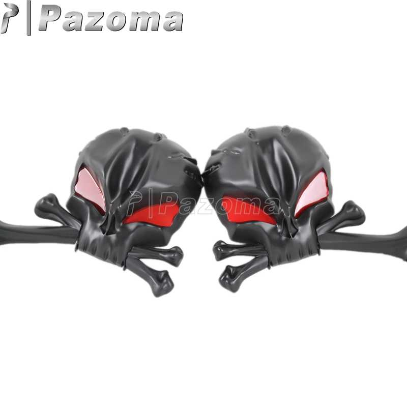 Schwarz Schädel Aluminium Spiegel Kopf Knochen Rückspiegel mit Roten Augen Universal für Vintage Cruiser Harley Cafe Racer