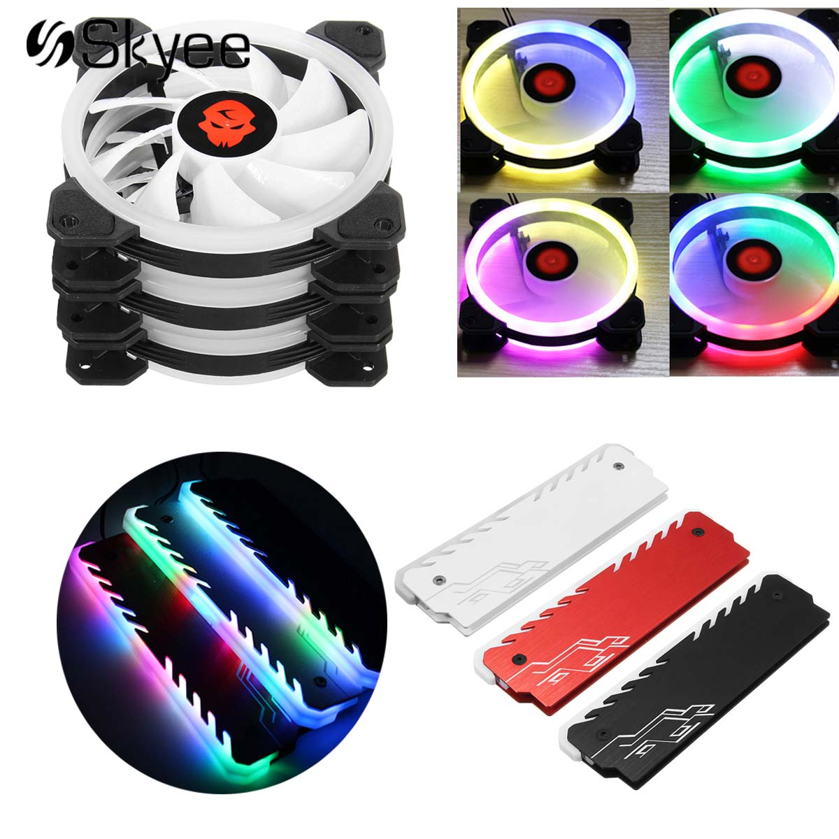 Quiet Computer Case PC RGB Cooling Fan 120mm + Aluminum RAM Memory Cooling Vest Cooling Cooler Shell PC CPU Radiator Heatsink thermalright le grand macho rt computer coolers amd intel cpu heatsink radiatorlga 775 2011 1366 am3 am4 fm2 fm1 coolers fan