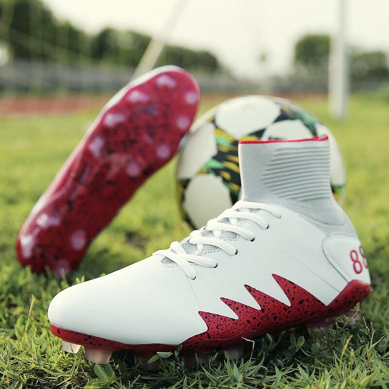 Sneakers Fly Weaving Men Soccer Shoes Adults Long Spikes Sport Football Shoe Outdoor Turf Cleats Men Sneakers Futbol Erkek Krampon
