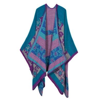 Новинка, модные зимние теплые клетчатые пончо и накидки для женщин, Большие шали и накидки, кашемировые пашмины женские накидки - Цвет: 5