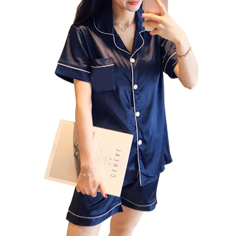 Womens Simulation Silk Satin   Pajama     Sets   Short Sleeve Sleepwear Pants Homewear