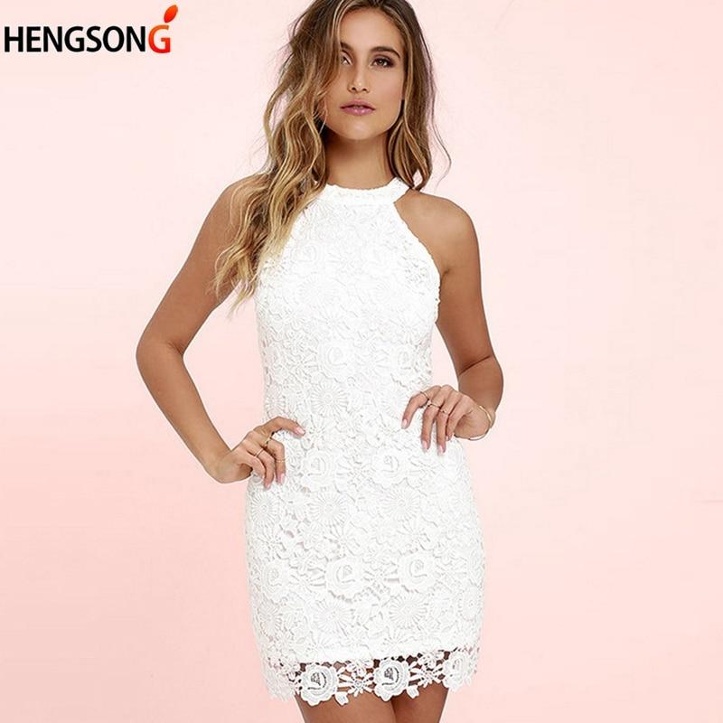 Womens Dress Elegant Wedding Party Sexy Night Club Halter Neck Sleeveless Sheath Bodycon Lace Dress Short