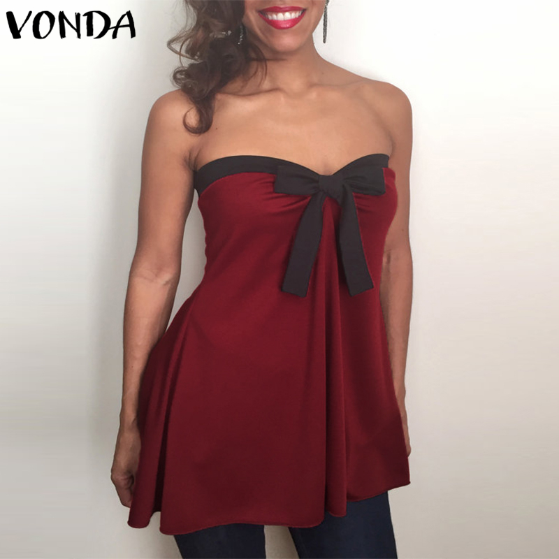 VONDA Women Off Shoulder   Blouses     Shirts   2019 Summer Casual Sexy Slash Neck Sleeveless Asymmetric Party Blusas Tops Plus Size 5XL