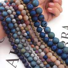 Perles rondes en pierre naturelle, Agates Druzy revêtues de métaux, 6,8,10,12,14mm, pour bricolage, Bracelet, boucle d'oreille, fabrication de bijoux, 15 pouces