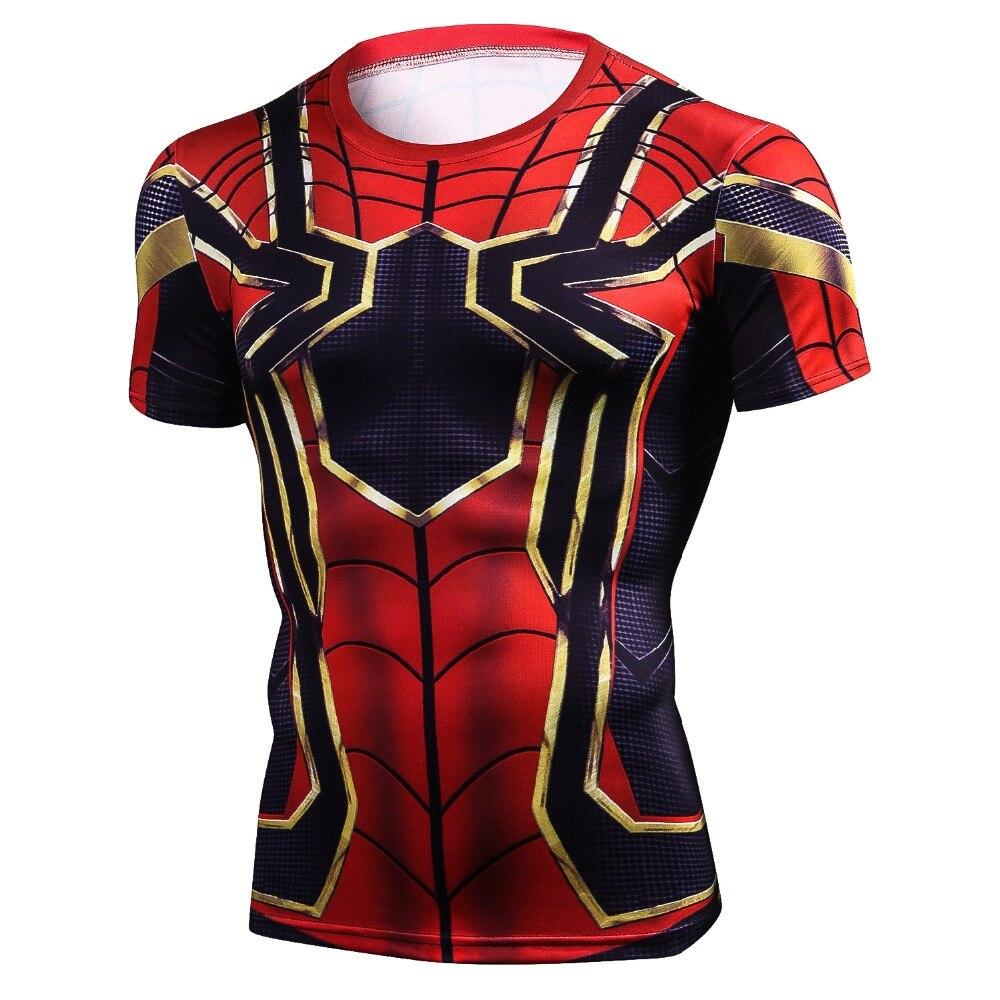 Manga raglán Iron Spiderman 3D Camisetas estampadas hombres compresión camisas 2018 verano nuevo Cosplay Crossfit Tops para Fitness Masculino