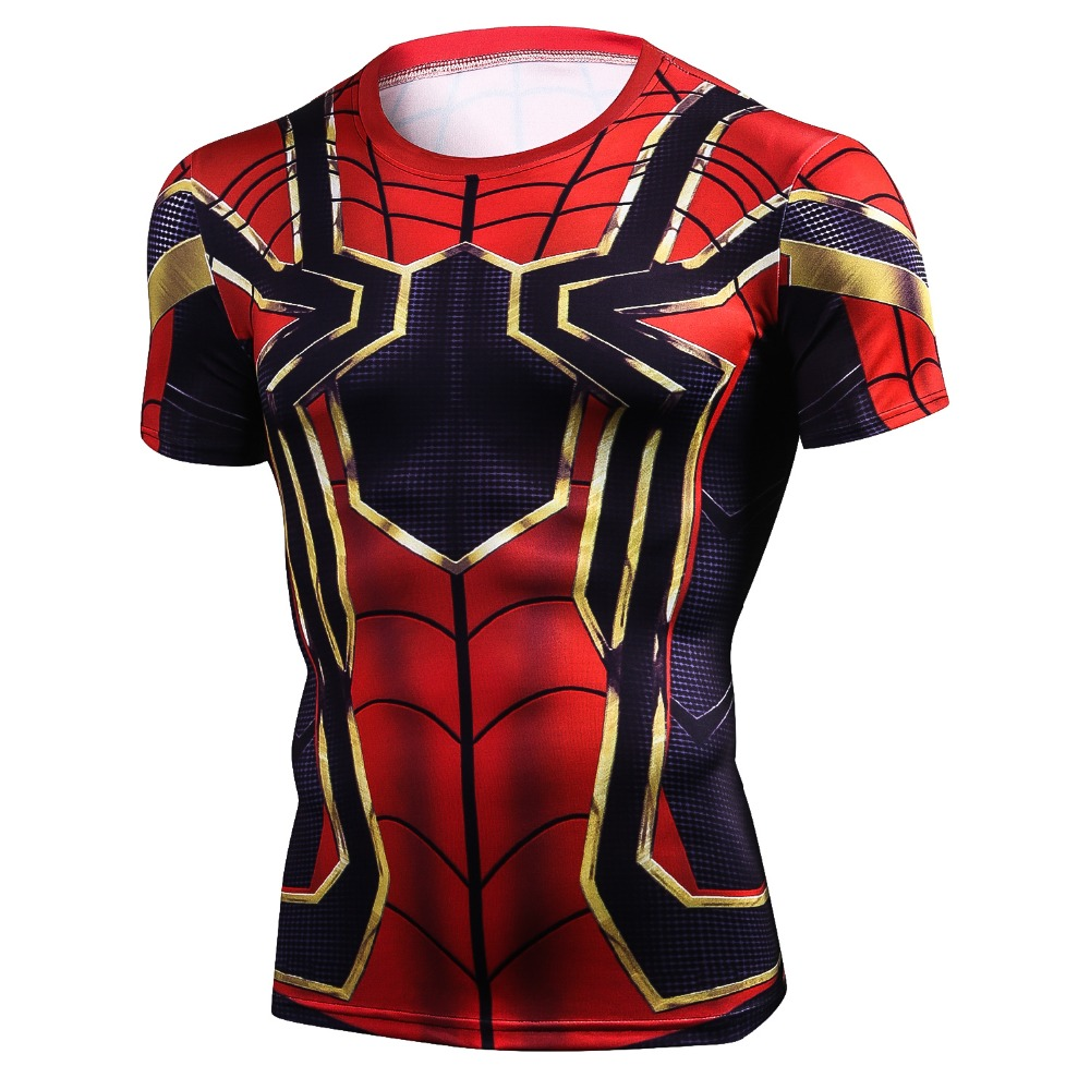 Manicotto di Raglan Ferro Spiderman T shirt Con Stampa 3D Uomini di Compressione Shirt 2018 NEW Estate Cosplay Tops Per Uomo Fitness Crossfit