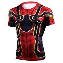 Рукав реглан Железный Человек-паук 3D футболки с принтом Для мужчин сжатия рубашки 2018 Летний Новый Косплэй Crossfit топы для мужчин Фитнес